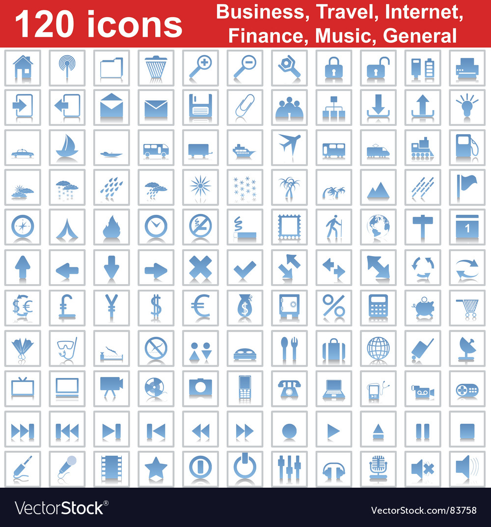 Business travel general icon set vector | Price: 1 Credit (USD $1)