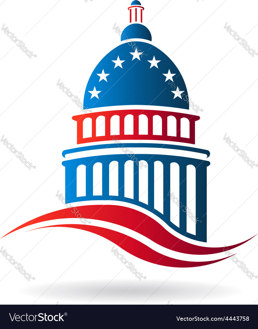 Capitol building in red white and blue vector | Price: 1 Credit (USD $1)