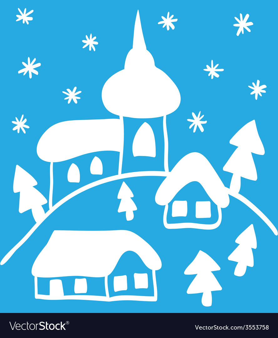Christmas church and houses hand - drawn style vector | Price: 1 Credit (USD $1)
