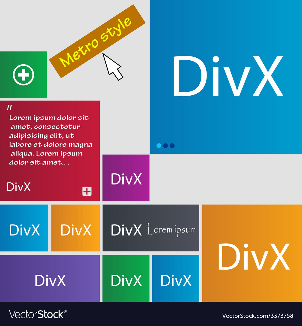 Divx video format sign icon symbol set of colored vector | Price: 1 Credit (USD $1)