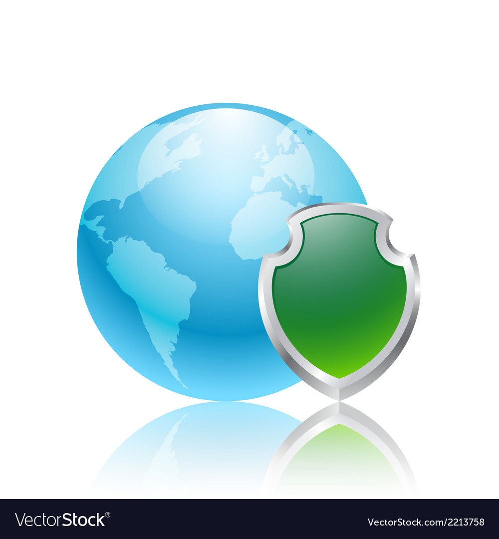 Earth and green shield vector | Price: 1 Credit (USD $1)
