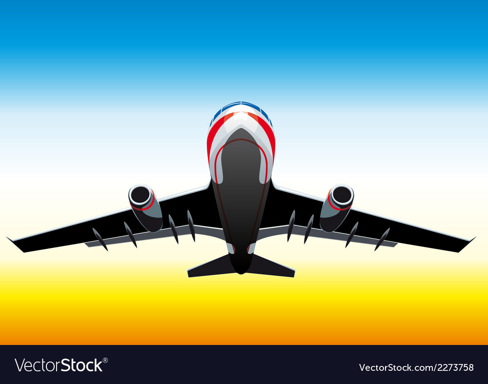 Flying up passenger plane vector | Price: 1 Credit (USD $1)