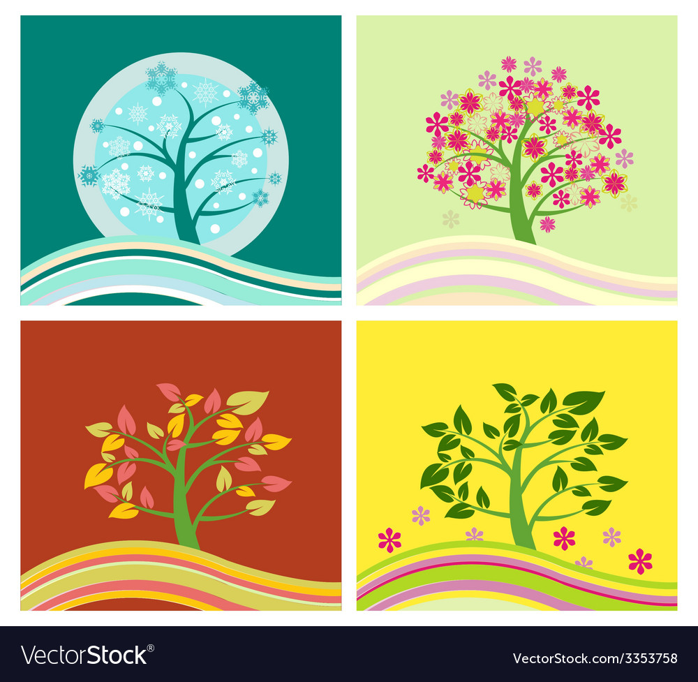 Four seasons tree - vector | Price: 1 Credit (USD $1)