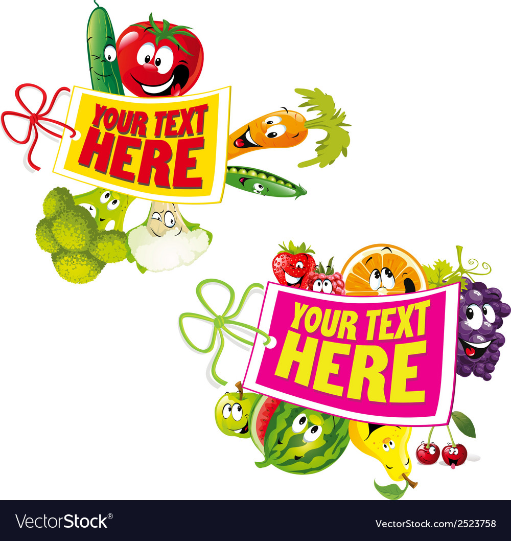 Fruit and vegetable healthy tag vector | Price: 1 Credit (USD $1)