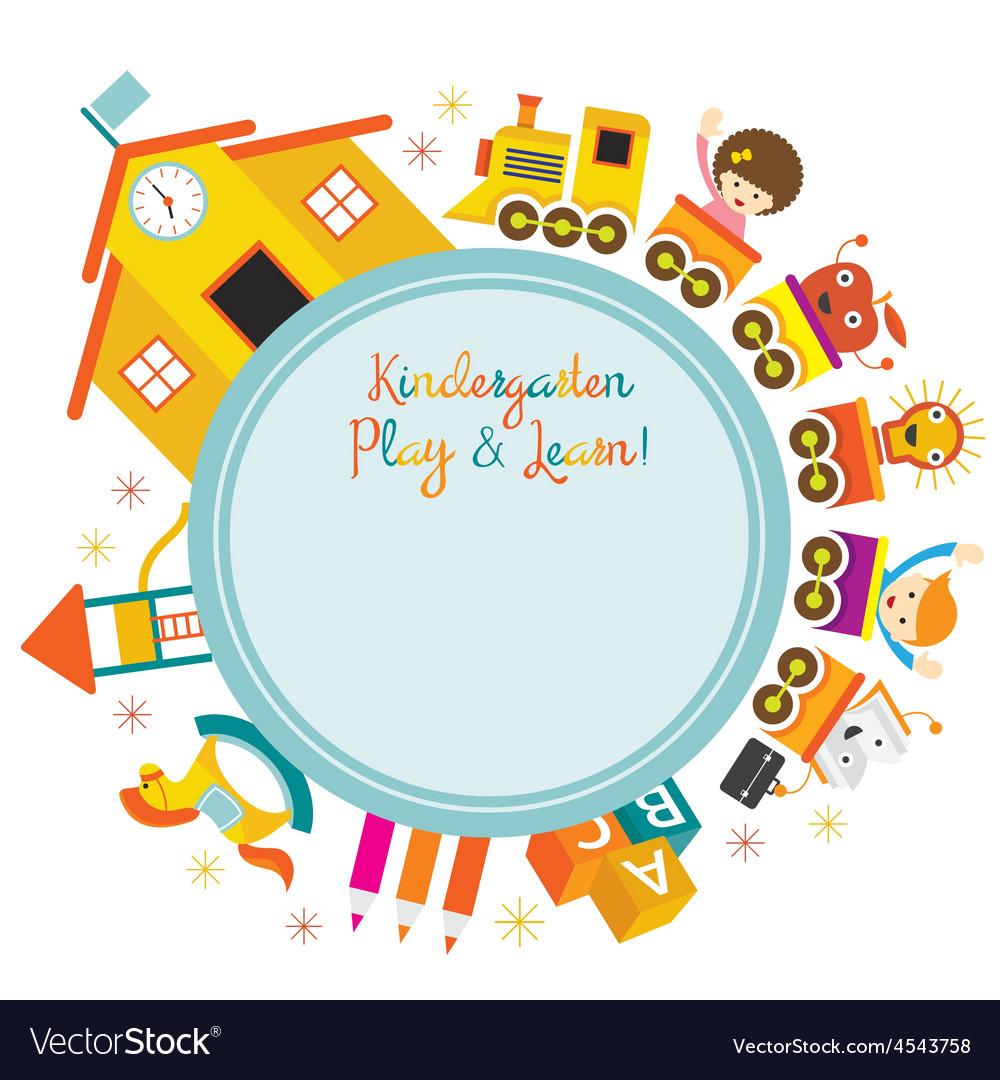 Kindergarten train kids round frame vector | Price: 1 Credit (USD $1)