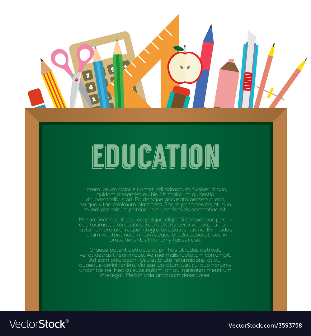 School supplies with chalkboard education concept vector | Price: 1 Credit (USD $1)