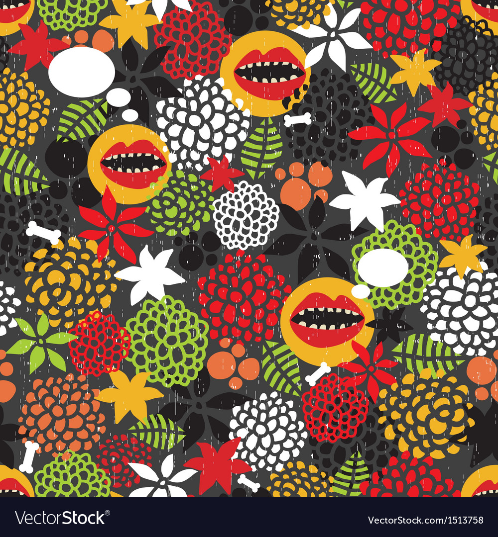 Seamless pattern with crazy mouth vector | Price: 1 Credit (USD $1)