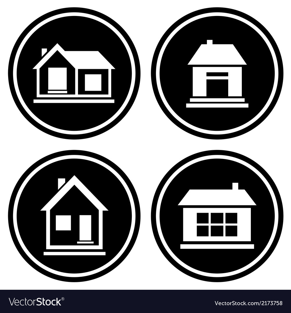 Set round icons with house vector | Price: 1 Credit (USD $1)