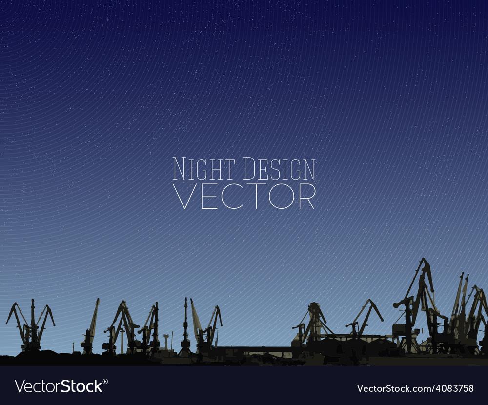 Shipyard harbor skyline night design vector | Price: 1 Credit (USD $1)