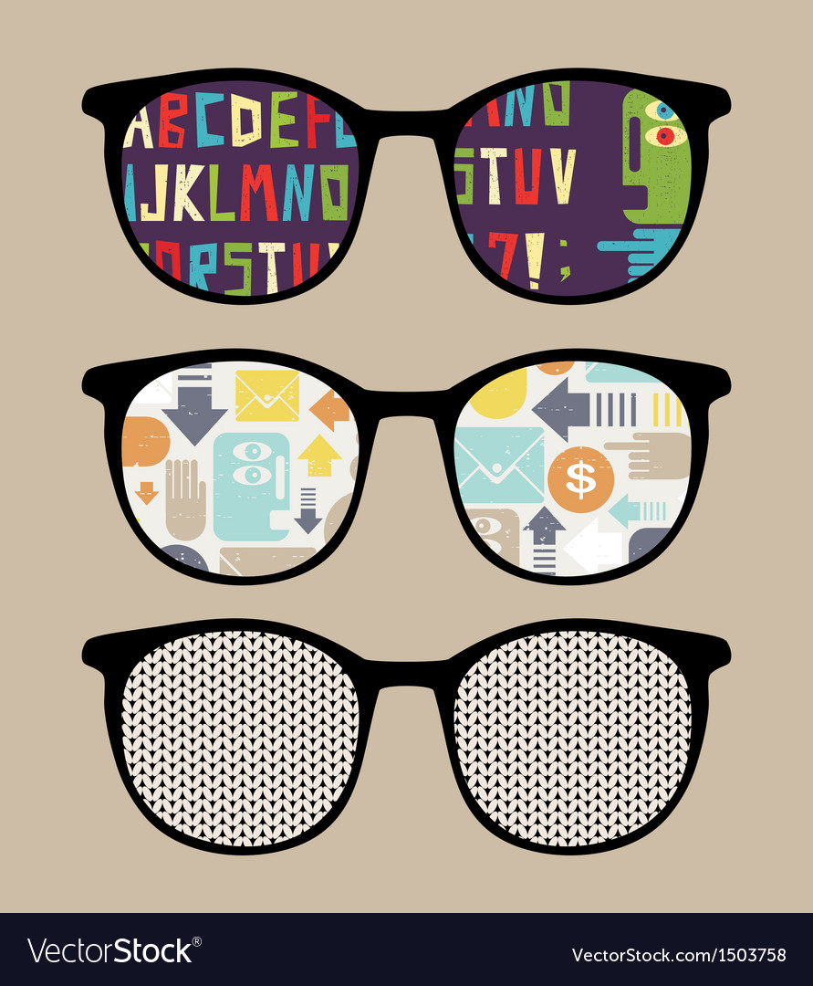 Three retro sunglasses with alphabet reflection vector | Price: 1 Credit (USD $1)