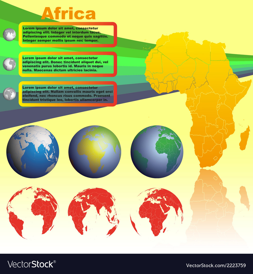Africa map on yellow background vector   Price: 1 Credit (USD $1)
