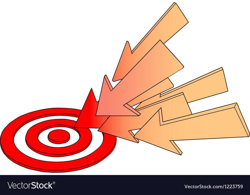 Arrows point at hot target drawing vector | Price: 1 Credit (USD $1)
