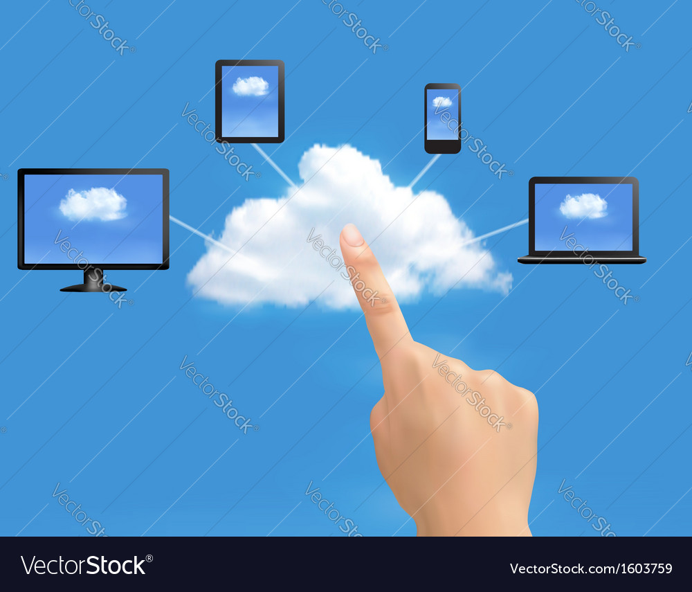 Cloud computing concept background with hand vector | Price: 1 Credit (USD $1)