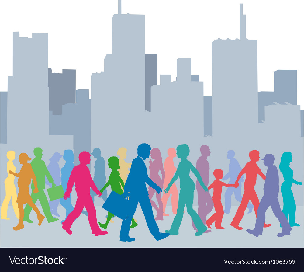 Crowd of people colors walk city vector | Price: 1 Credit (USD $1)