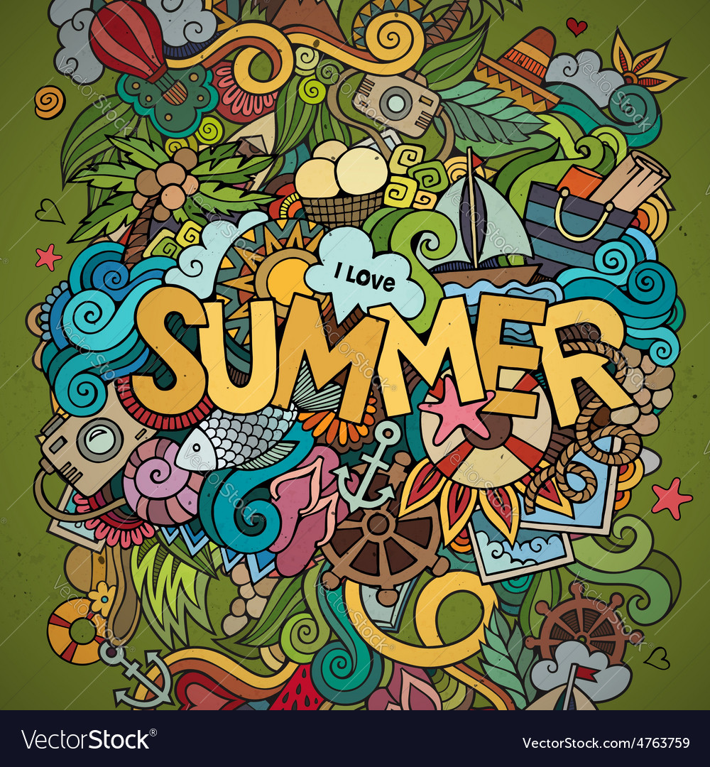 Doodles abstract decorative summer background vector | Price: 1 Credit (USD $1)