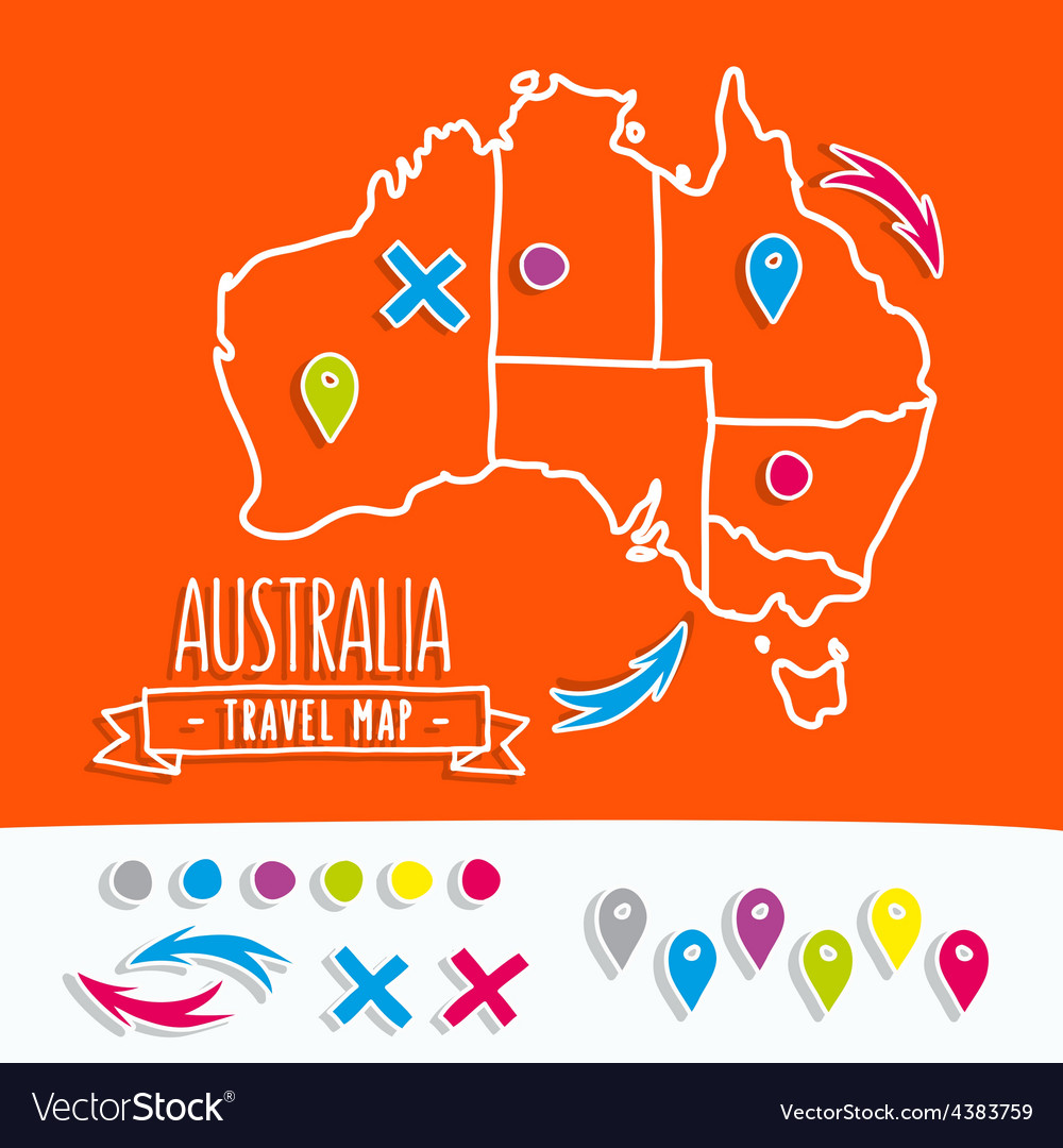 Hand drawn australia travel map with pins vector | Price: 1 Credit (USD $1)