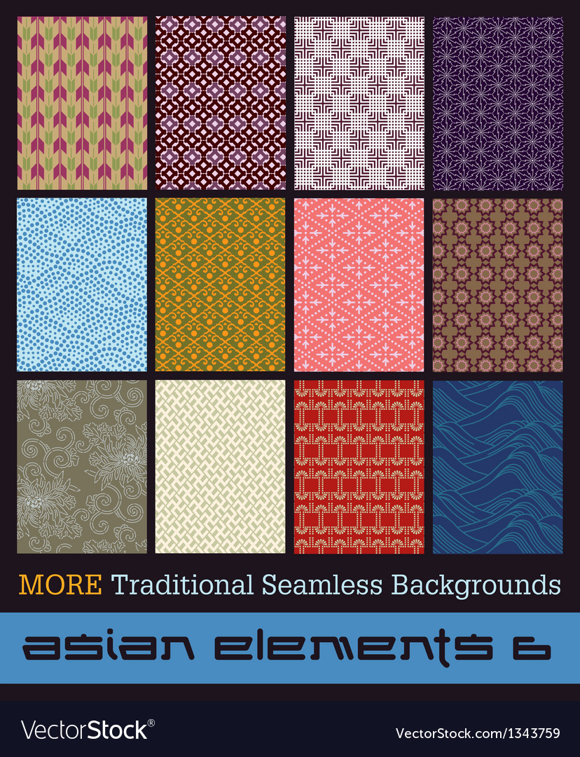 More traditional seamless japanese backgrounds vector