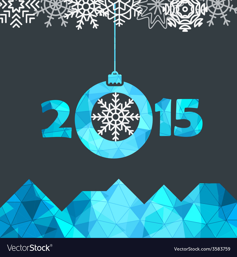 New year greeting card with snowflakes vector | Price: 1 Credit (USD $1)