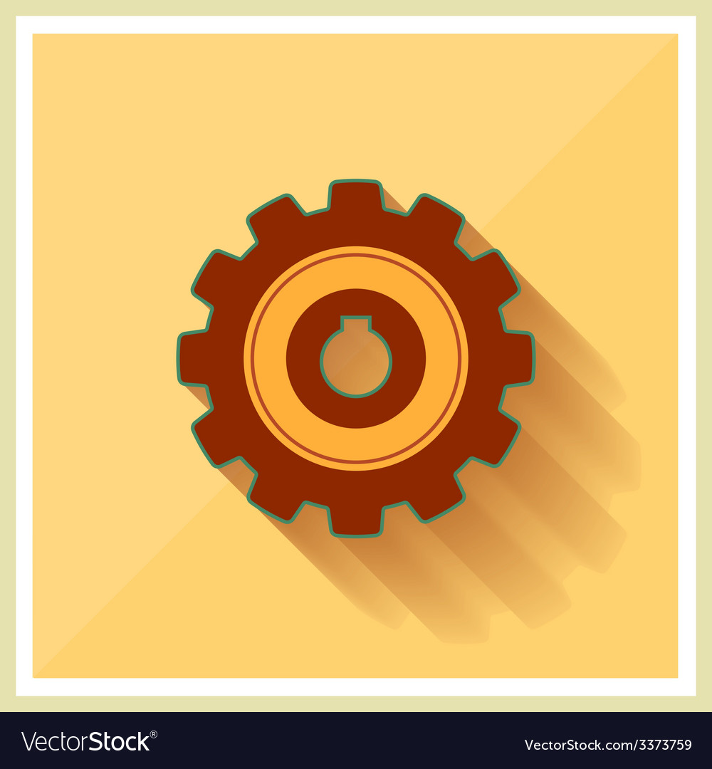 Technology mechanical gear flat icon vector | Price: 1 Credit (USD $1)