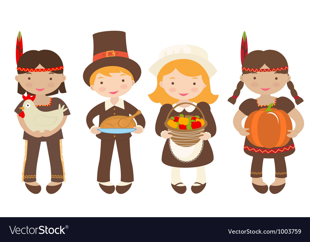 Thanksgiving kids sharing food vector | Price: 1 Credit (USD $1)