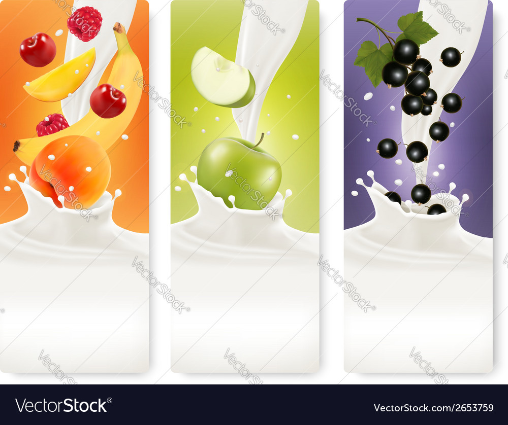 Three fruit and milk banners vector | Price: 1 Credit (USD $1)