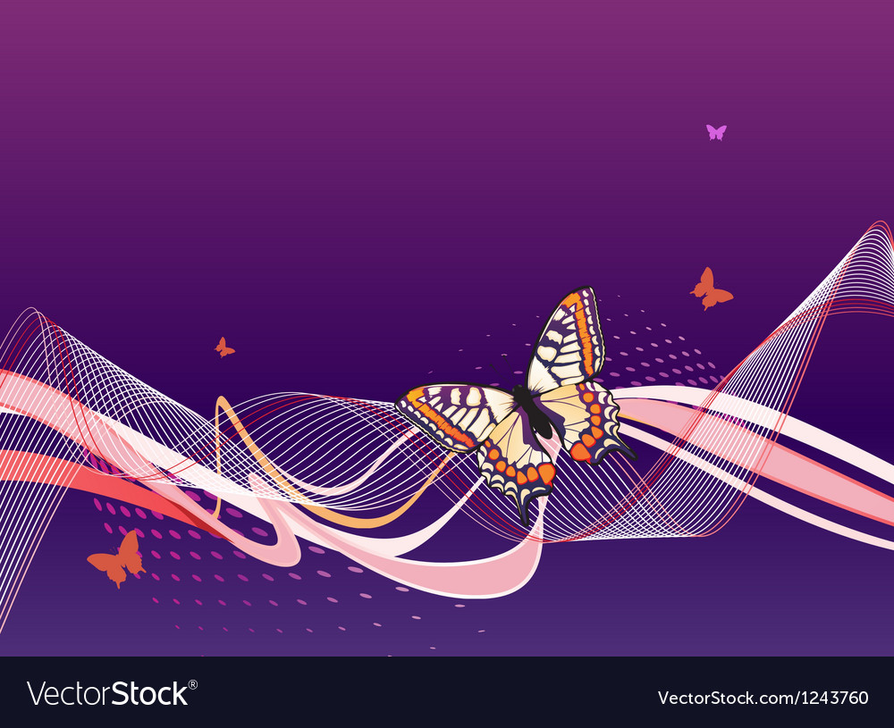Abstract blue background with butterflies waves vector | Price: 1 Credit (USD $1)