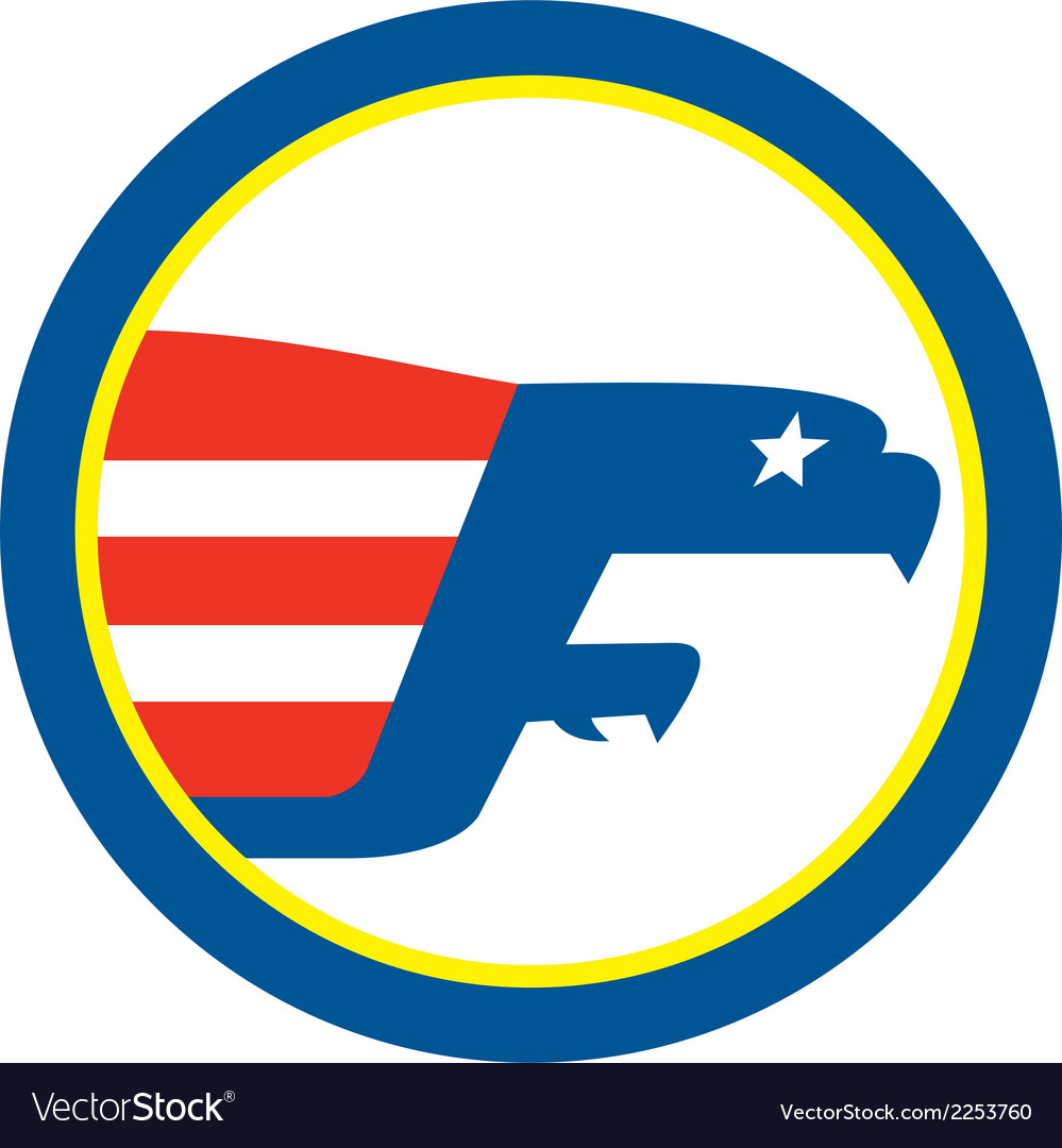 American eagle flying flag side circle retro vector | Price: 1 Credit (USD $1)