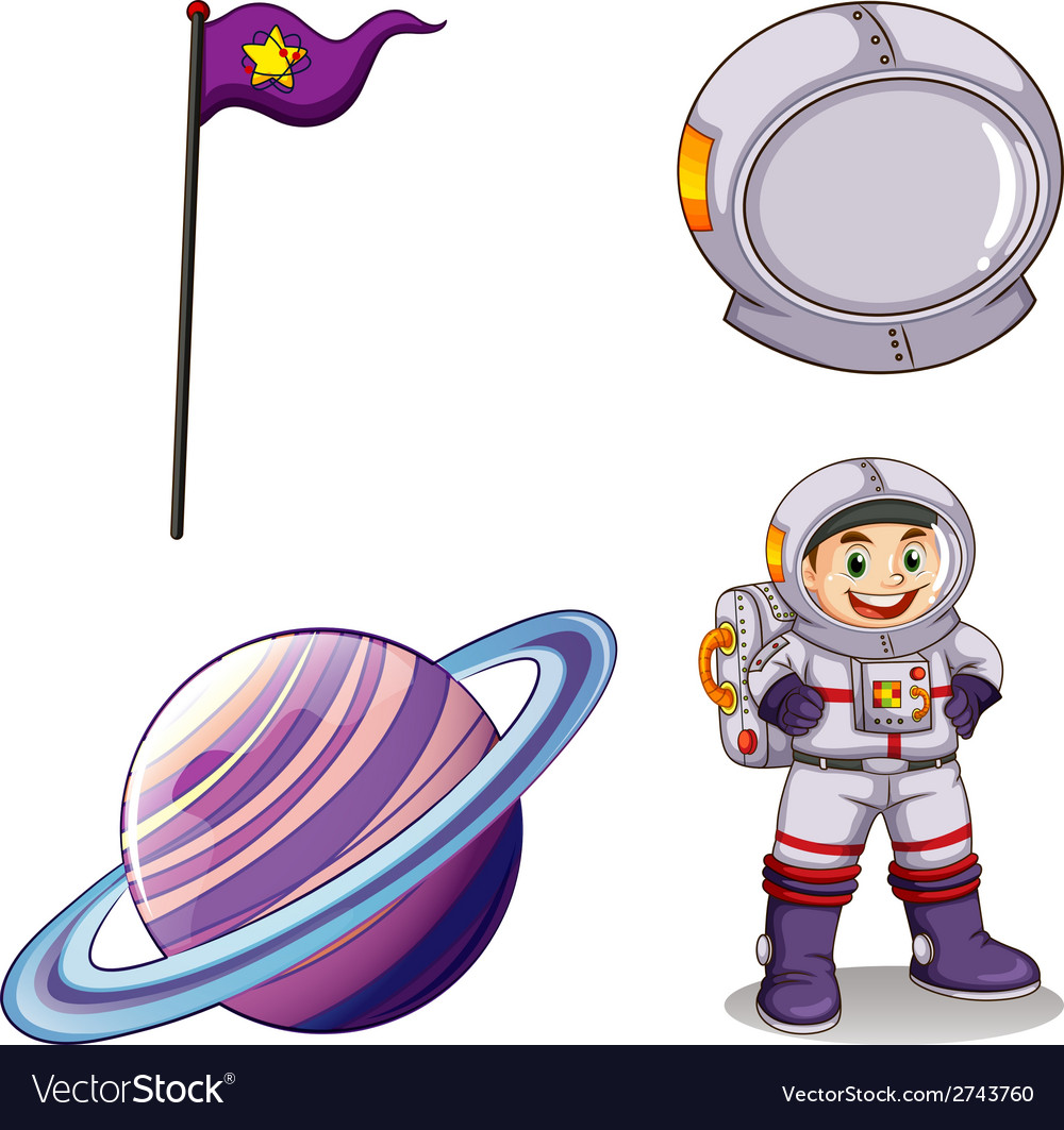 An astronaut a planet a banner and a helmet vector | Price: 1 Credit (USD $1)