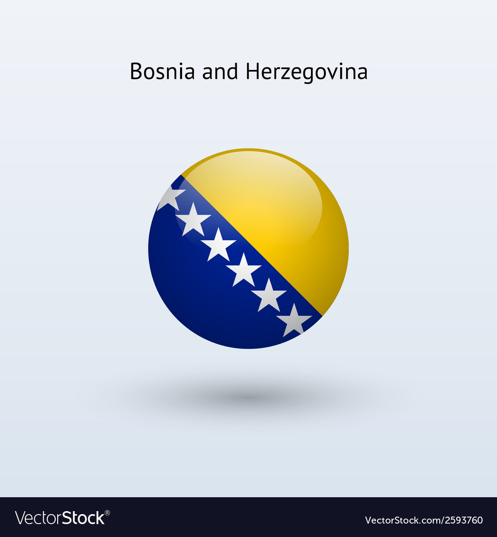 Bosnia and herzegovina round flag vector | Price: 1 Credit (USD $1)