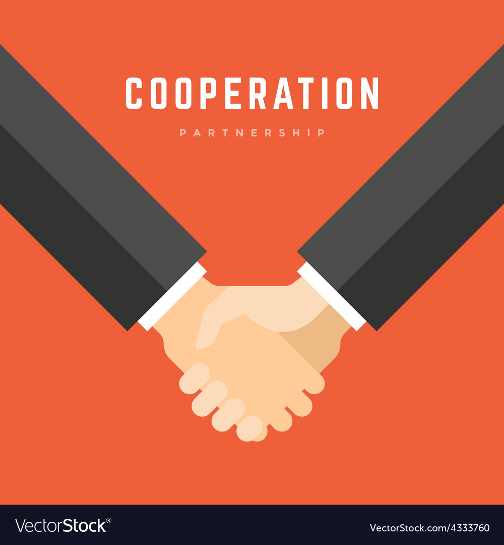 Business man holding hands partnership cooperation vector | Price: 1 Credit (USD $1)