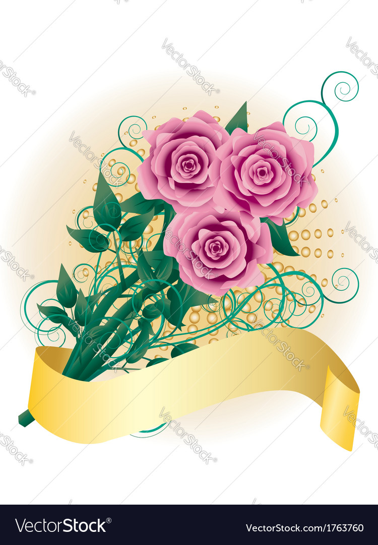 Card with pink roses2 vector | Price: 1 Credit (USD $1)