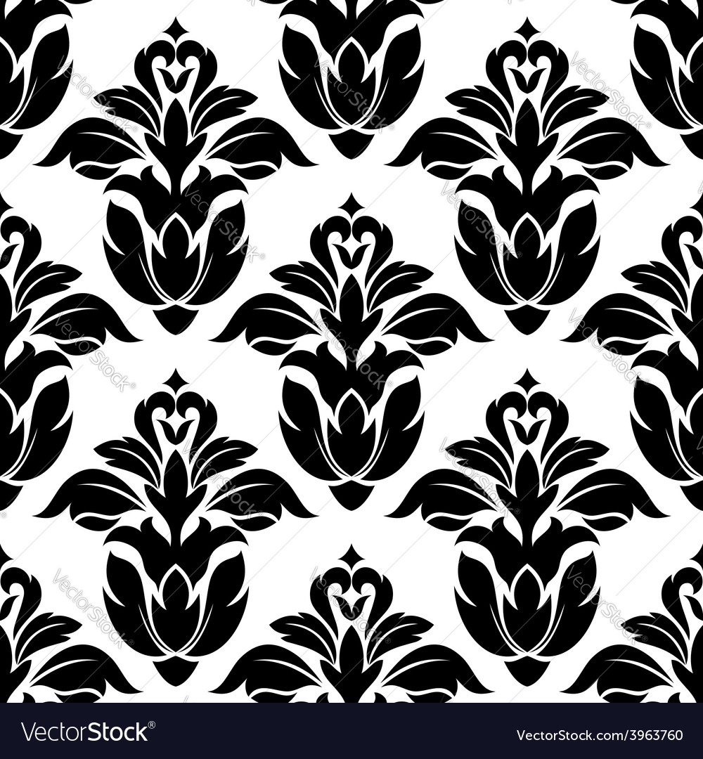 Classic floral seamless pattern with black flowers vector | Price: 1 Credit (USD $1)
