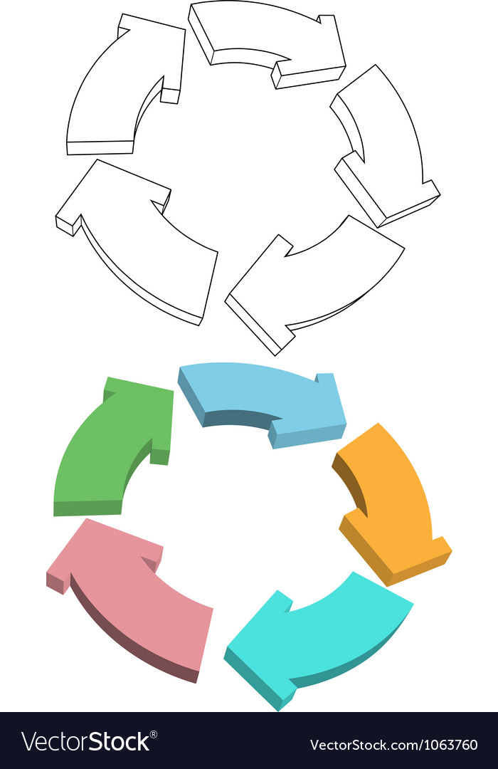 Curvy arrows cycle recycle colors drawing vector | Price: 1 Credit (USD $1)