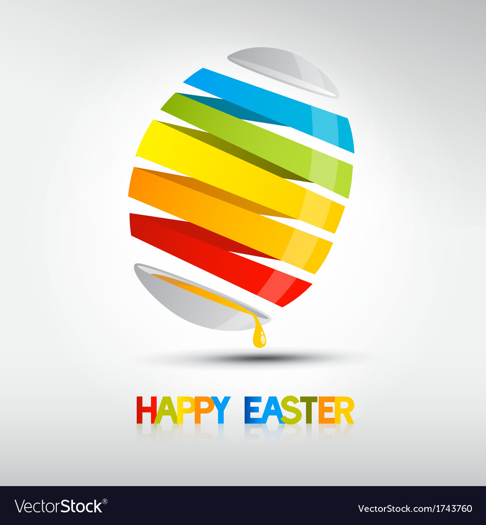 Easter egg shiny colors happy easter celebration vector | Price: 1 Credit (USD $1)