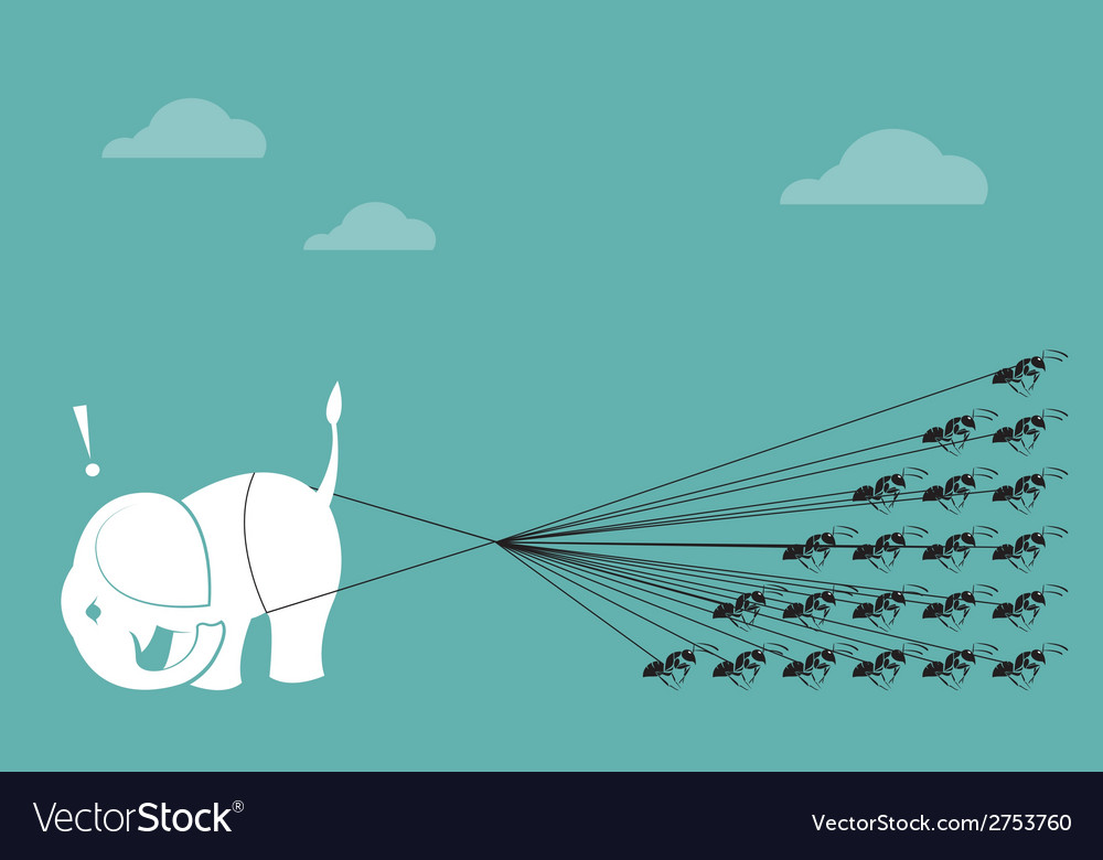 Elephant and ant vector | Price: 1 Credit (USD $1)