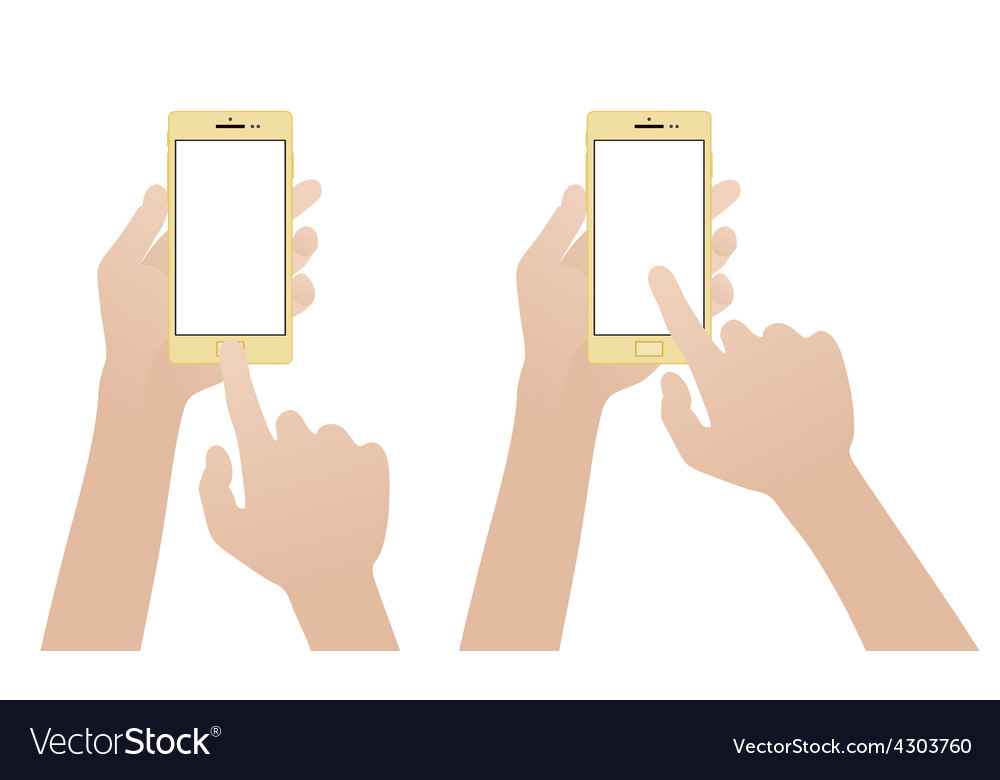 Hand holding gold smartphone touching blank white vector | Price: 1 Credit (USD $1)