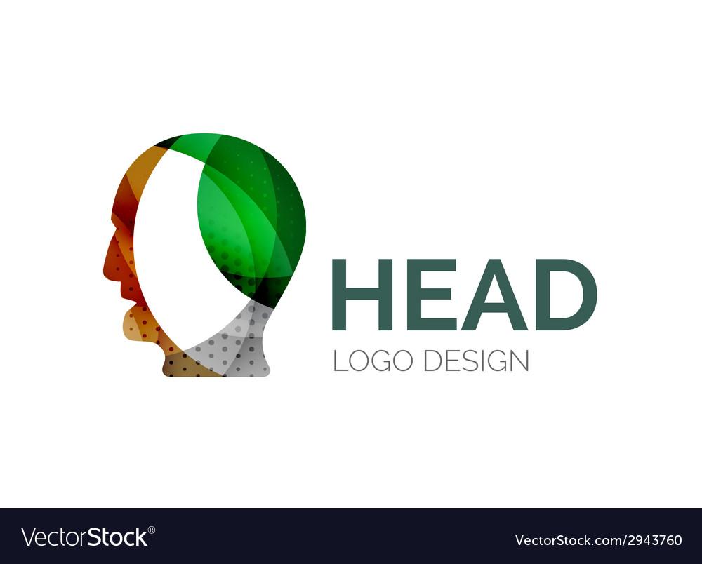 Human head logo design made of color pieces vector | Price: 1 Credit (USD $1)