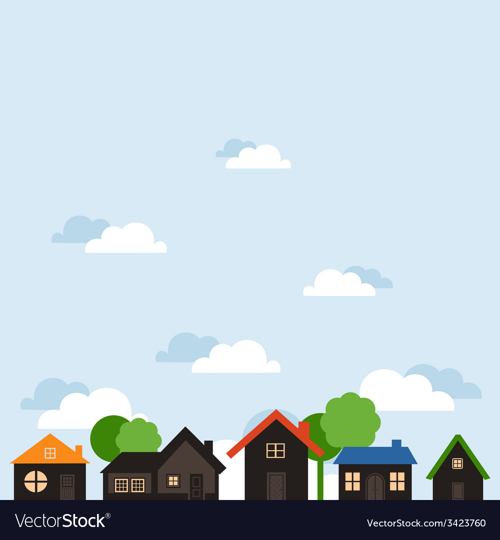 Landscape of houses vector | Price: 1 Credit (USD $1)
