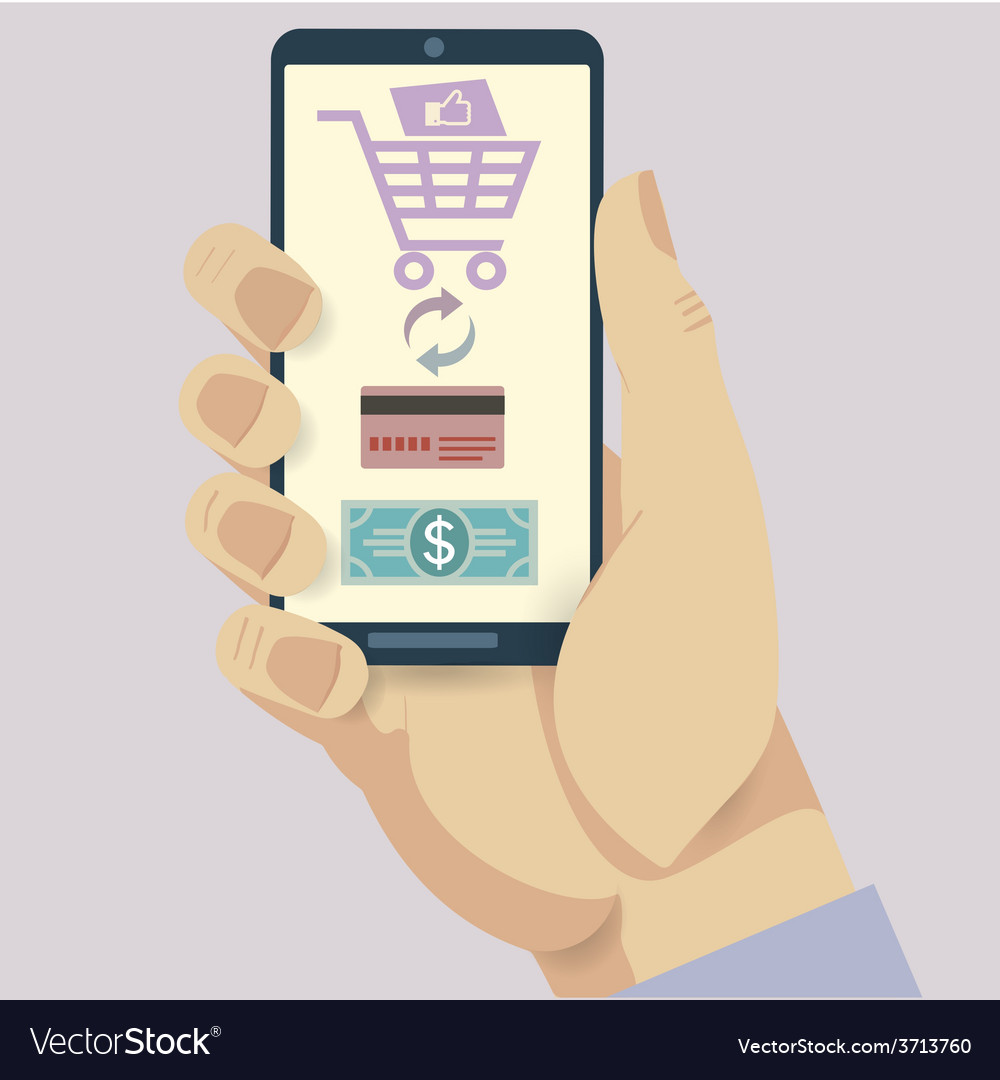 Mobile payment credit card hand holding phone vector | Price: 1 Credit (USD $1)