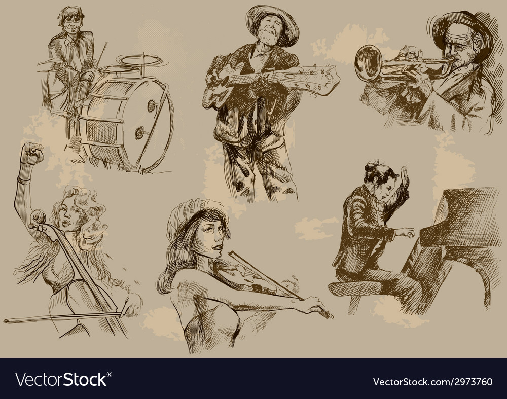 Musicians - an hand drawn pack vector | Price: 1 Credit (USD $1)