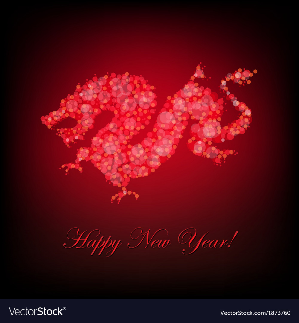 New year card with dragon vector | Price: 1 Credit (USD $1)
