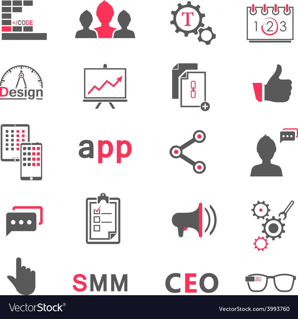 Set of modern icons app seo smm vector | Price: 1 Credit (USD $1)
