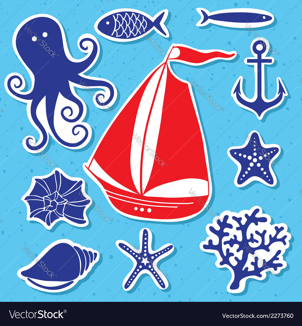 Silhouette sea - hand drawn set of sea symbols vector | Price: 1 Credit (USD $1)