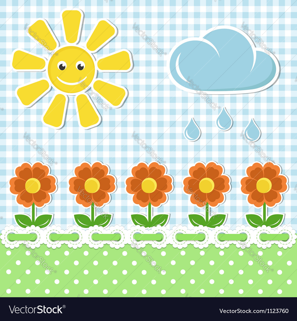 Spring fabric background with sun and flowers vector | Price:  Credit (USD $)