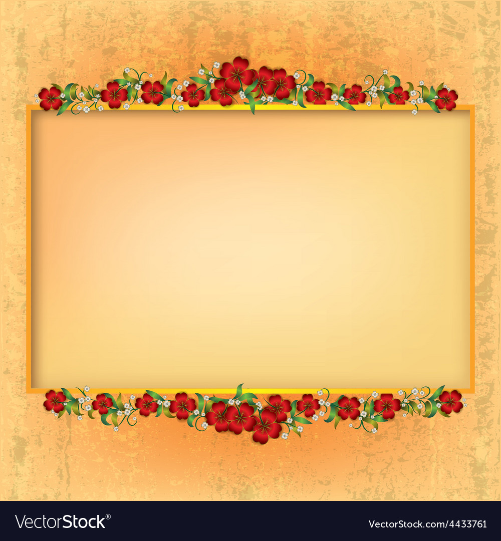 Abstract yellow grunge background with red floral vector | Price: 1 Credit (USD $1)