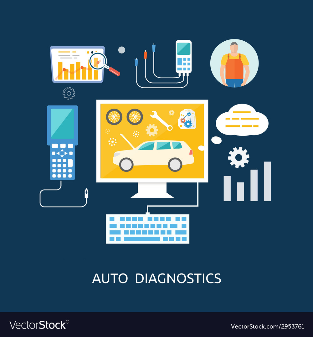 Auto mechanic service flat icons of maintenance vector | Price: 1 Credit (USD $1)