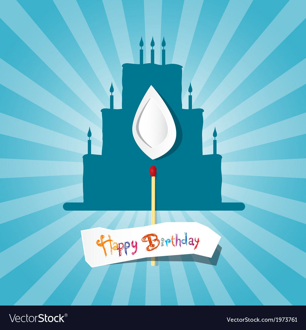 Blue birthday background with cake silhouette vector | Price: 1 Credit (USD $1)