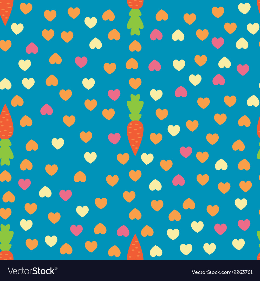 Carrot and heart seamless pattern vector | Price: 1 Credit (USD $1)
