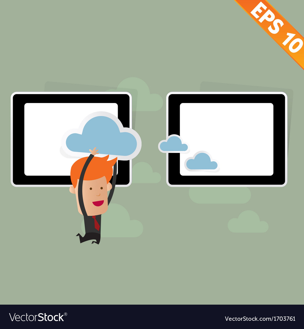 Cartoon business man carry cloud service - vector | Price: 1 Credit (USD $1)