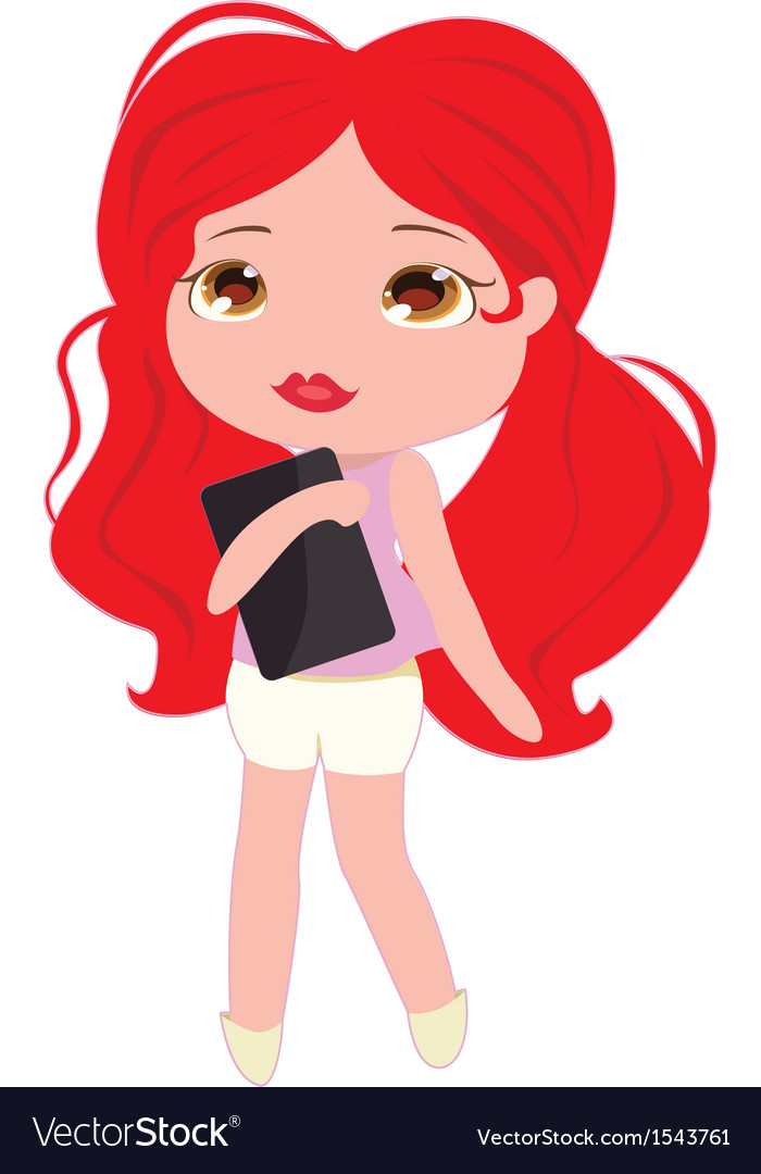 Girl with a tablet vector | Price: 1 Credit (USD $1)